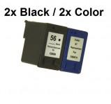 2/2 Druckerpatronen wiederbefüllt für HP 56 Schwarz und HP 57 Color