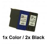 1/1 Druckerpatronen wiederbefüllt für HP 21 Black / HP22Color