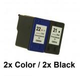 2/2 Druckerpatronen wiederbefüllt für HP 21 Black / HP22Color