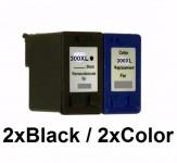 3Druckerpatronen wiederbefüllt für HP300XL Black/Color