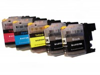 5 Druckerpatronen für Brother LC-123/LC-125/LC-127 mit Chip