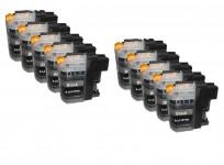10 Druckerpatronen für Brother Black/SchwarzLC-123/LC-125/LC-127 mit Chip
